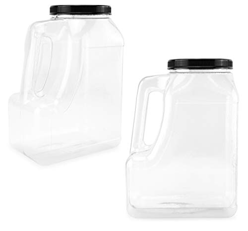 Cornucopia Clear Plastic Gallon Jar with Handle and Airtight Lid (2-Pack) for Bulk Food, Craft Supplies, Paint and Detergent Storage and More
