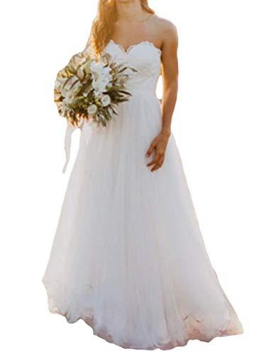 JAEDEN Brautkleid Lang Damen Hochzeitskleider Strand Brautmode Tüll Spitze Herzausschnitt Weiß EUR36