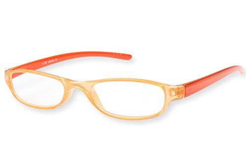 Leesbril dames oranje ovaal licht smal transparant met donkeroranje beugels leeshulp kijkhulp 1.0 1.5 2.0 2.5 3.0 Dioptrien 1.0 oranje roze transparant met donkeroranje strijken.