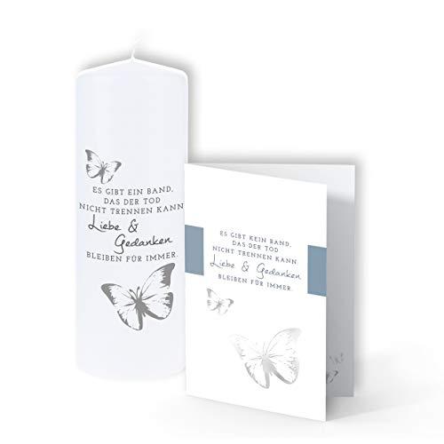 TrostGeschenke - Trauerkerze & passende Trauerkarte - 'Es gibt ein Band, das der Tod'