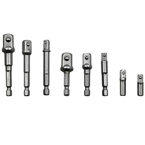 1/2(73/50mm), 3/8(65/50mm), 1/4(65/50/30/25mm), 8 PCS/Set Socket Bit Extension Bar Hex Shank Adapter Drill Nut Driver Power Drill Bit HAOCHENGYU