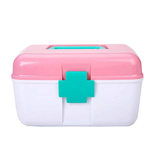 Medicijnkastje Small First Aid Box, Medicine Storage Box, Multi-Layer Box met afneembare compartimenten, Emergency Box, Pink, Household EHBO doos (Color : A)