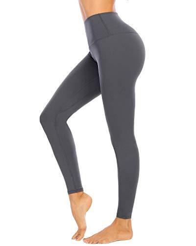 AUU High Waist Workout Leggings Gym Tights Comfy 4 Way Stretch Yoga Pants and Capris(Deep Gray,XXL)