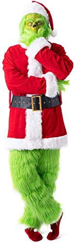 Lycoco Navidad Adulto Grinch Disfraz 7pcs Navidad Deluxe Furry Santa Traje Cosplay Fantasía Vestido Verde Traje Verde con Máscara Hat Bella Guantes Zapatos Cubiertas para Hombres Niño,XXL