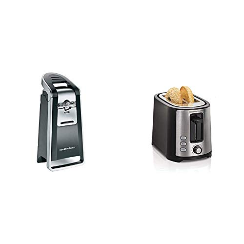 Hamilton Beach Smooth Touch Electric Automatic Can Opener, Black and Chrome (76607) & 2 Slice Extra Wide Slot Toaster with Shade Selector, Toast Boost, Auto Shutoff, Black (22633)