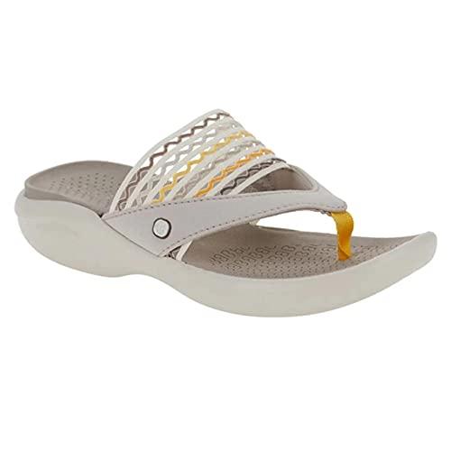 surfsexy Chanclas de mar, cómodas zapatillas de mujer huecas sandalias de verano playa cuña PU zapatos antideslizantes