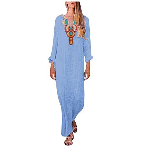 L9WEI Damen Linnen jurk boho zomerjurk lange mouwen elegante rok V-hals strandjurk vrouwen casual zomerjurken losse partyjurk