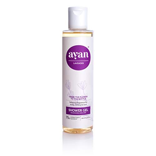 AYAN Naturkosmetik Wellness Duschgel ✔ stark basisch pH: 9,5-10,5 mit Bio Lavendelöl und Kokosöl ✔ Frische, Entspannung und Pflege ✔ 200ml