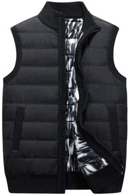 LYLY Vest Women Winter Men Vests Casual Male Knitted Cardigan Parka Vests Thick Warm Waistcoat Mens Thermal Sleeveless Jackets Clothing Vest Warm (Color : Black, Size : XXXL)