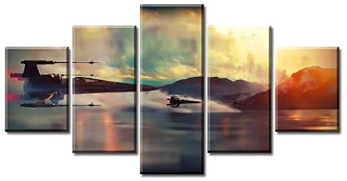 DJSYLIFE  Modern Art Printed in Star Wars Movie Poster 5 Panel Canvas Art Wall Frame Paintings Living room30x40x2+30x60x2+30x80x1= (cm)^^^with Framework