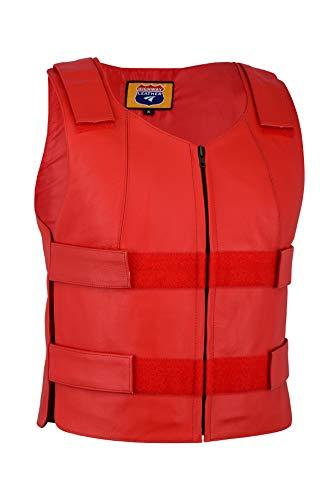 Red Leather - Ladies Bulletproof Style Motorcycle Vest (L)