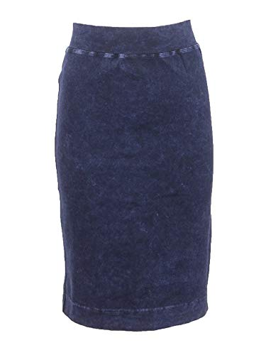 Hard Tail Forever Wide Cut Cotton Pencil Skirt, Knee Length - Style: W-525 Dark Denim S
