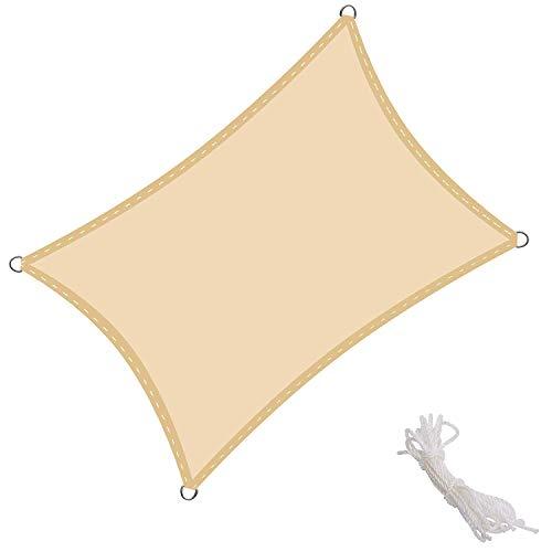 Toldo Vela de Sombra Rectangular Toldos IKEA Prevención Rayos UV Solar protección para Jardin Terraza Patio Gris - Beige 6x6m