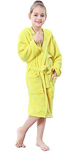 COSMOZ Kinder Bademantel mit Kapuze für Mädchen und Jungen aus Mikrofaser - Super Kuschelig und Weich,Gelb,140 cm
