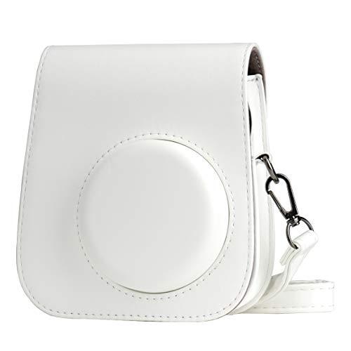 Cpano PU Leder Kameratasche für Fujifilm Instax Mini 11 Sofortbildkamera mit verstellbarem Riemen und Tasche (Weiß)