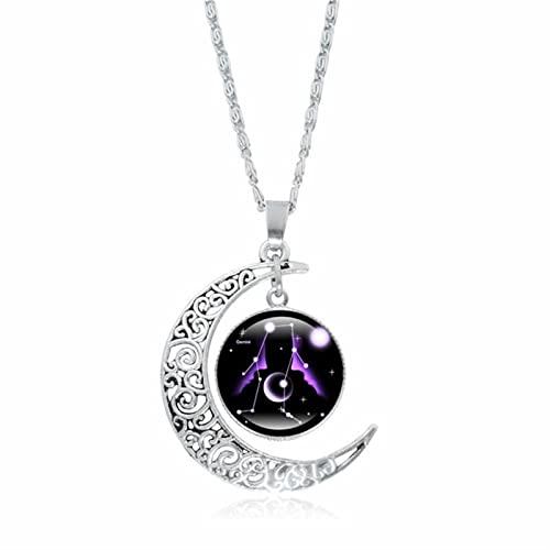 ZhenS Collar de 12 Constelaciones de Tiempo, Collar con Colgante de Luna, cabujón, Collar de constelación de Doble Galaxia para Mujeres-Géminis