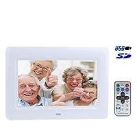 KANEED デジタルフォトフレーム 高解像度 リモートコントロール、サポートUSB/SD/MS/MMCカード入力(黒)と7インチTFT LCDデジタルフォトフレーム