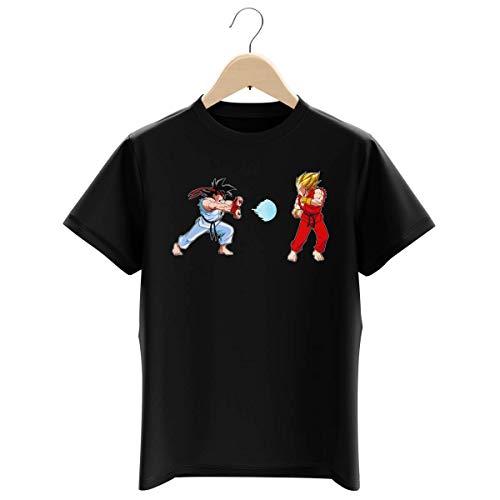 T-shirt Enfant Garçon Noir parodie Dragon Ball Z - Street Fighter - Ryu, Ken Sauce Sangoku et Vegeta - Kamehamehadoken !!! (T-shirt enfant de qualité premium de taille 13-14 ans - imprimé en France)