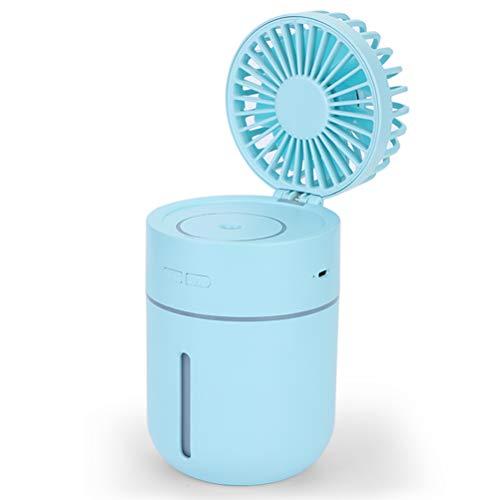 Portable Hydraterende Nevel Fan, Desktop Mini USB Bevochtigen Fans Met Borstelloze DC Motor En 7 Kleuren Nachtlampje Functie Ingebouwde 2000Mah Lithium Batterij,Blue