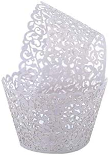 Seamersey 200pcs Cupcake Wrappers Filigree Artistic Bake Cake Paper Cups Little Vine Lace Laser product image