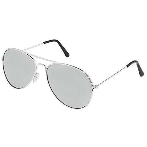 Skeleteen Silver Mirrored Aviator Sunglasses - Military Style Mirror Sun Glasses with Metal Frame and UV 400 Protection