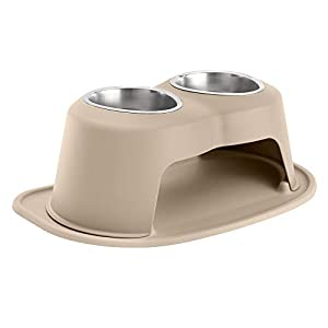 WeatherTech Double High Pet Feeding System – Elevated Dog/Cat Bowls – 8 inch High Tan (DHC3208TNTN)