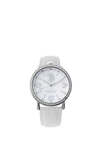 U.S. POLO ASSN. Damen Analog Quarz (Japanisch) Uhr mit Leder Armband USP5224WH_WH
