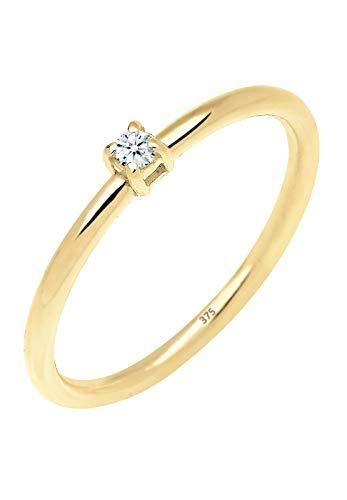 Elli PREMIUM Ring Damen Verlobungsring mit Diamant (0.03 ct.) in 375 Gelbgold