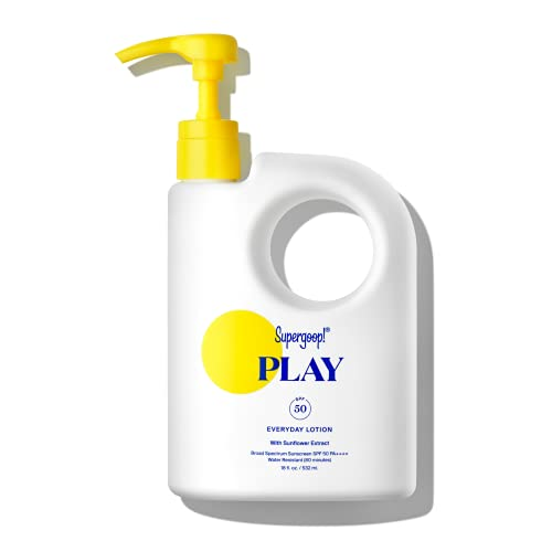Supergoop! PLAY Everyday Lotion, 18 oz - SPF 50 PA++++ Reef-Safe, Broad Spectrum, Body & Face Sunscreen for Sensitive Skin - Water & Sweat Resistant - Clean Ingredients - Great for Active Days