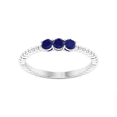 0,45 Karat Blau Saphir Gold Ehering, drei Stein Damen Statement Ring, SGL zertifizierter Edelstein Brautring, einzigartige Perlen Gravur Jahrestag Ring, 14K Weißes Gold, Size:EU 59