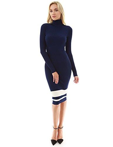 PattyBoutik Damen Geripptes Strickkleid mit Rollkragen und Langen Ärmeln (dunkelblau und Elfenbein L 42/44)