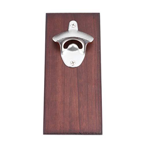 UPKOCH Abridor de botellas de madera rústico vintage para montar en la pared con tapa para barra de casa, tipo magnético