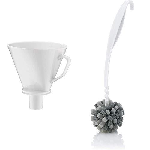 alfi Kaffeefilter Porzellan Größe 4, Handfilter Kaffee für Thermoskanne weiß & 0093.010.030 Kannenreiniger cleanFix, 30 cm, Speziell geformte Mircroschaunbürste für schonende
