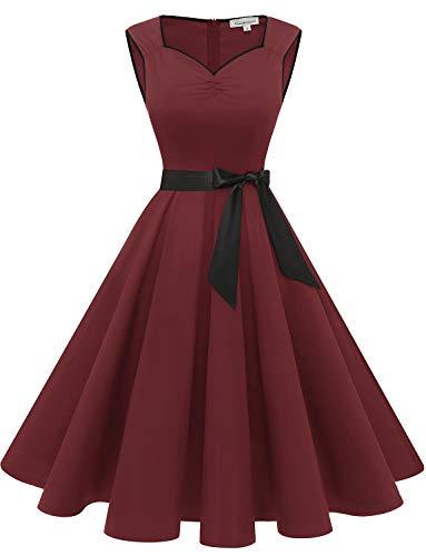 Gardenwed Damen 50er Vintage Retro Cap Sleeves Rockabilly Kleider Hepburn Stil Cocktailkleider Burgundy M