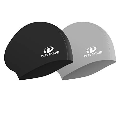 Womens Silicone Swim Cap for Long Hair,3D Ergonomic Design Silicone Swimming Caps for Women Kids Men...