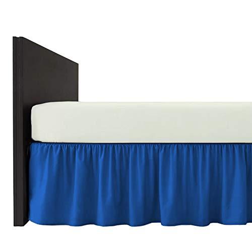 Mfabrics Bettvolant aus Baumwollmischgewebe, einfarbig, pflegeleicht, maschinenwaschbar, erhältlich in 20 Farben, 40 cm Rüschen, Baumwollmischung, Mittelblau, King Size