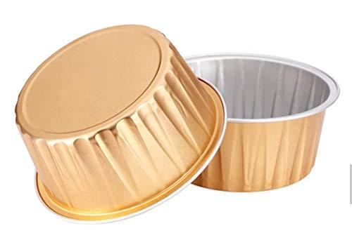 KEISEN 3 2/5' mini Disposable Aluminum Foil Cups 125ml 100/PK 4OZ for Muffin Cupcake Baking Bake Utility Ramekin Cup (GOLD)