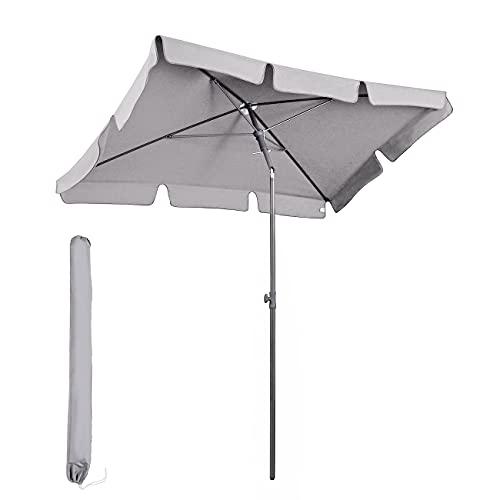 Sekey® 200 × 125 cm Sonnenschirm Marktschirm Gartenschirm Terrassenschirm Sonnenschutz UV 50+ Hellgrau Quadratisch