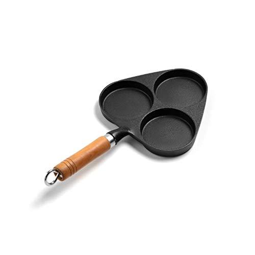 BANANAJOY Moldeada antiadherente Hierro-3 Copas sartén, 3 cavidades for cocinar huevos Pan con mango de madera