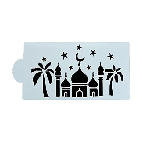 GKYI Mezquita de plástico de la galleta del café de la torta de la plantilla para fondant Eid mubarak café accesorios de la decoración herramientas