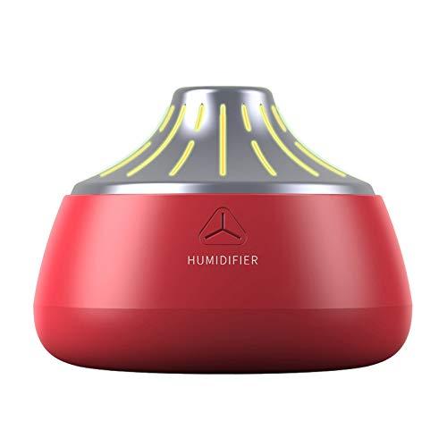 SODIAL Umidificatore Vulcanico USB Diffusore di Aromi Ad Ultrasuoni Cool Mist Maker Purificatore d'Aria con Luci - Rosso e Argento
