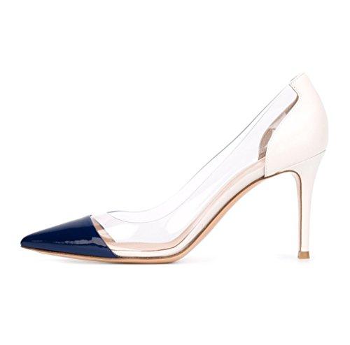 EDEFS Durchsichtig Damenschuhe Pumps Spitz Zehe Pfennigabsatz Schuhe Weiß Größe EU37