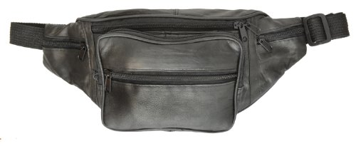 Marshal Black Leather Fanny Pack- Top Men´s Waist Money Belt/Women's Purse Hip Pouch Travel- Best Zippered Waist Pouch For Money/Passports/Card Security In Travel- Ideal For Hiking, Running