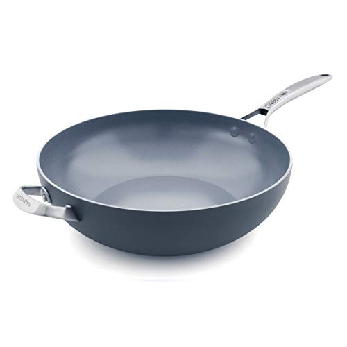 GreenPan Paris 12.5 Inch Ceramic Non-Stick Wok, Gray -