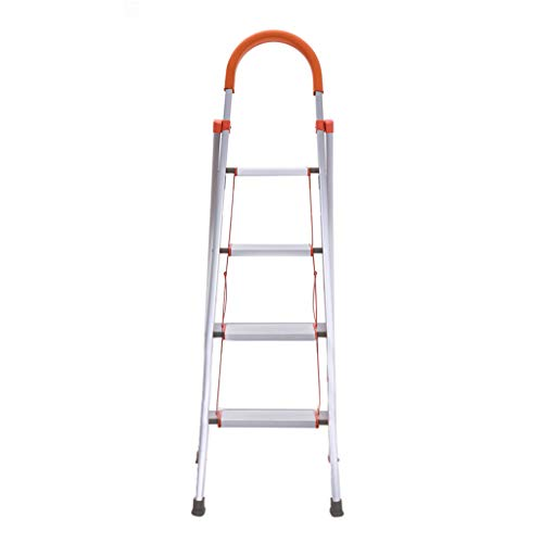 4 Step Ladder Folding Stepladder, Folding Aluminum Step Stool Ladder Multi-Use Ladder with Anti-Slip Wide Pedal and Handgrip (55.5×29×20.47 in, Orange)