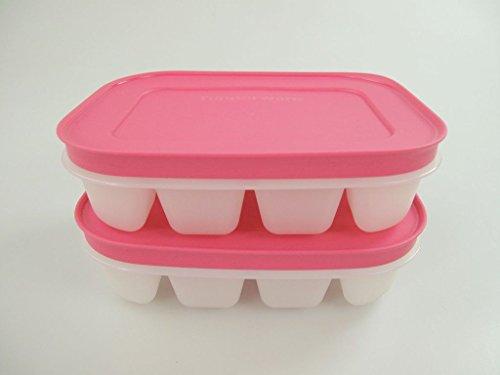 TUPPERWARE Eiswürfler Gefrier-Behälter mini Eiswürfel Eis mit rosa Deckel (2) 11287