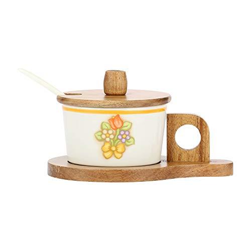 THUN - Formaggera da Tavola, con Decoro Floreale - Accessori Cucina - Linea Country - Stoneware e Legno di Acacia - 15 x 11 x 8,5 cm