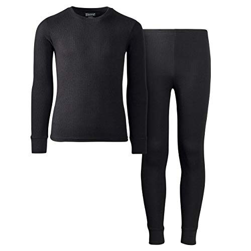 Only Boys Warm-Waffle-Weave Long John Thermal Underwear Base-Layer Top and Pant Set, Black, Size Small/6-7