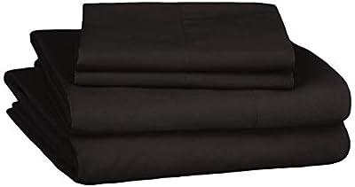 Amazon Basics Soft Microfiber Sheet Set with Elastic Pockets - Queen, Coal Black