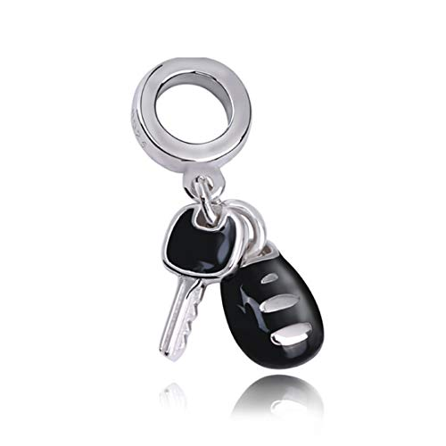 EVESCITY COLLECTION Genuine Bolenvi Black Enamel Car Keys Sports Vehicle Driver 925 Sterling Silver Beads for Charm Bracelets Best Jewelry Gifts for Her Holiday Women Family Wife BFF Birthday